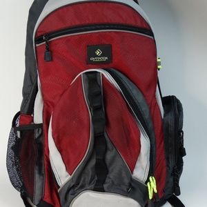 Outdoor Backpack Day Pack Red Black Hike School